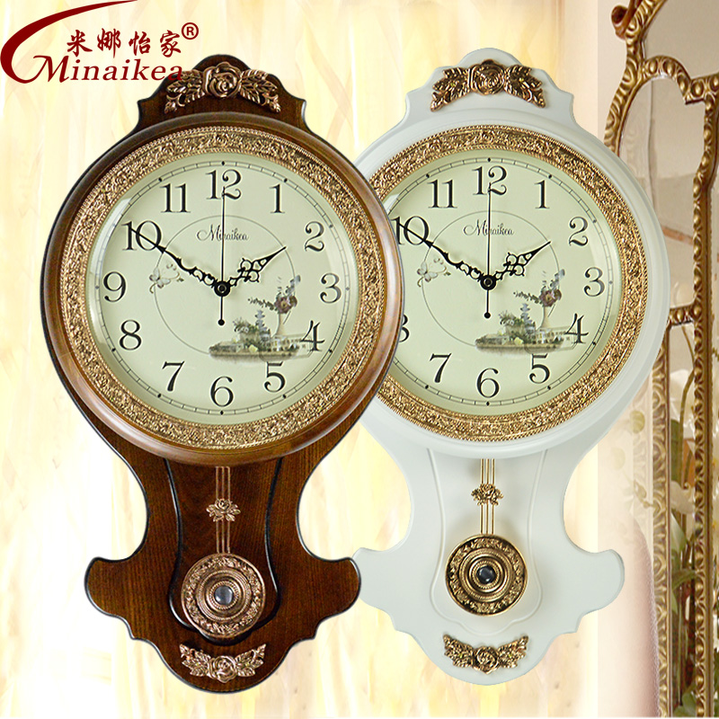 buy european solid wood double sided wall clock antique