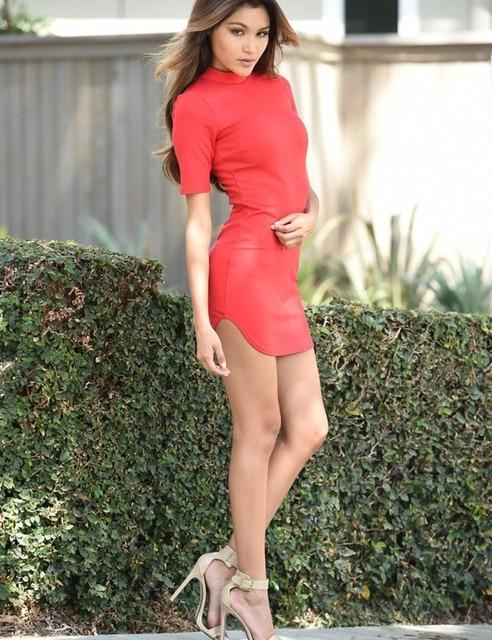 sexy Bodycon club dress Turtleneck mini dresses casual summer women dress new 2017  Short sleeve Slim dress vestidos