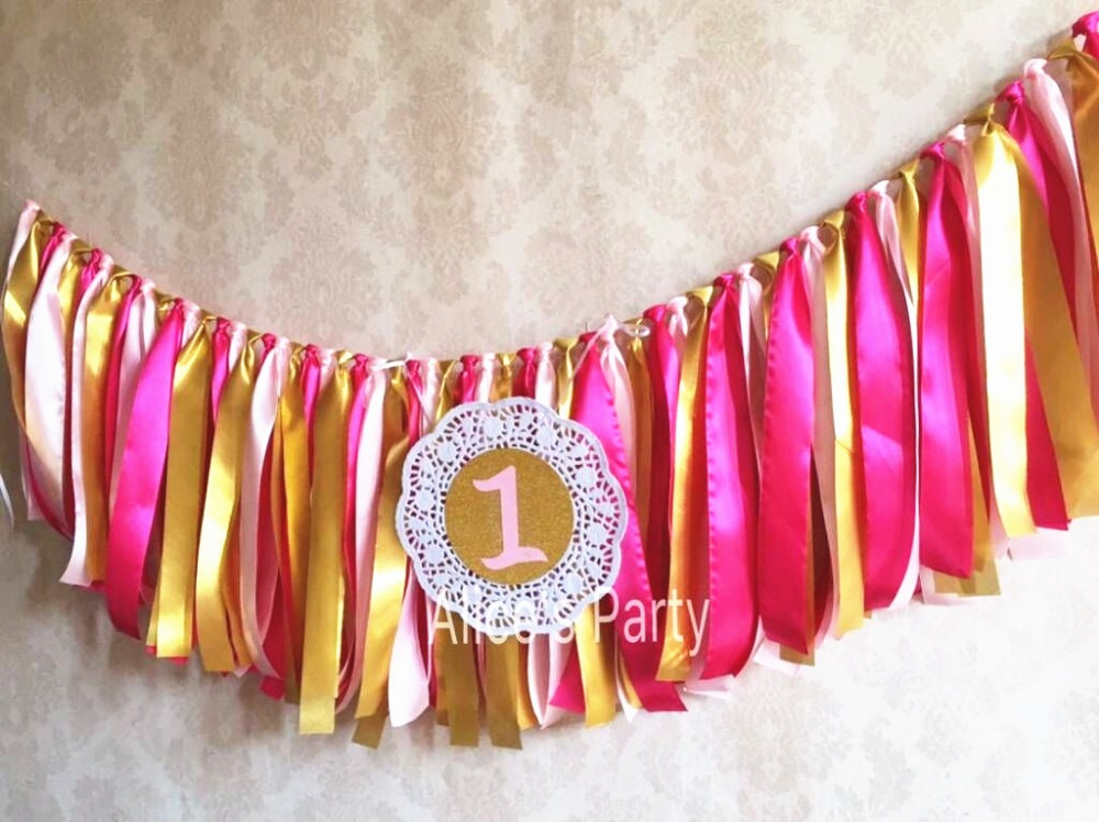 Cloth Banner Pink and Gold Banner Baby Shower Happy Birthday Highchair Tutu Tea Party Garland Gold Soft Petal Pink Lace Fabric Cloth Bunting