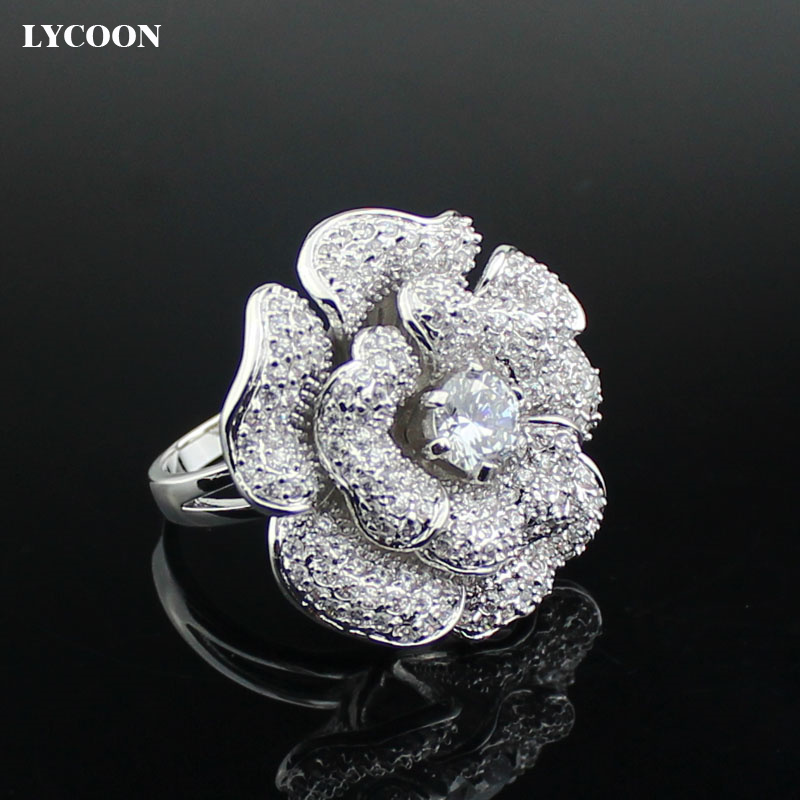 LYCOON Fashion Woman luxury brand big rose flower Zircon Rings hight quality silver plated with CZ Cubic Zircon ring Suit party бра dio d'arte marino e 2 1 1 600 a