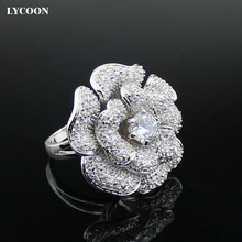 LYCOON Fashion Woman luxury brand big rose flower Zircon Rings hight quality silver plated with CZ Cubic Zircon ring Suit party