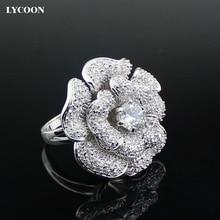 LYCOON Мода Женщина люксовый бренд большой роуз цветок Циркон Кольца высокое качество серебро с покрытием из CZ Кубический Циркон кольца Костюм партия