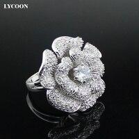LYCOON Moda Mujer marca de lujo gran flor de rose Anillos de Circón hight calidad plateado con CZ anillo de Circón Cúbico Traje partido