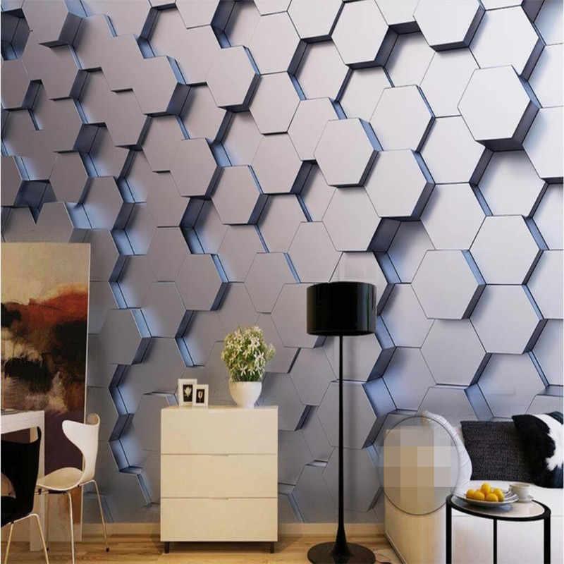 Обои на заказ 3d простой шестиугольный геометрический Стерео ТВ фон украшение стены-высококлассный водостойкий материал