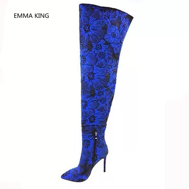 Bleu Sur Cuissardes As Longues Mince Genou Sexy Femmes In Chaussures Picture Les De Pour Shown Pointu Brodé Bottes Le Talons Mode Club Haute Bout qArOq5
