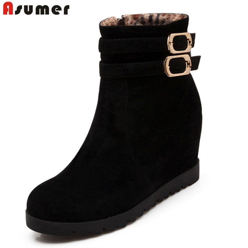 Asumer 2018  hot sale new arrive women ankle boots solid color autumn winter boots buckle zipper height increasing lady bootsAsumer 2018  hot sale new arrive women ankle boots solid color autumn winter boots buckle zipper height increasing lady boots