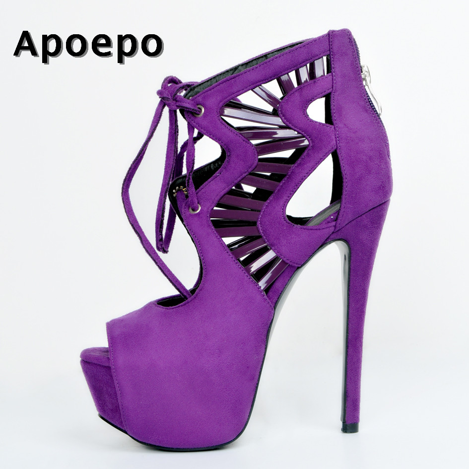 Apoepo Hot Selling Purple Suede Ankle Boots 2018 Sexy Peep toe Lace-up gladiator sandal boots cutouts platform high heel boots