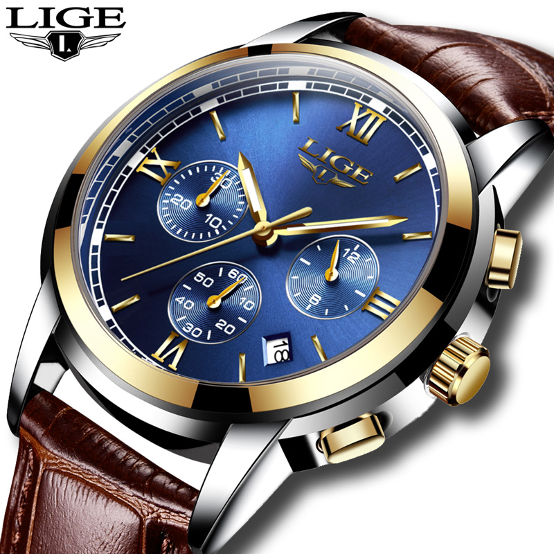 2018 <font><b>LIGE</b></font> Men sports Watches Male Fashion Business quartz-watch Men Leather Waterproof Clock Man Auto Date Multifunction Watches image