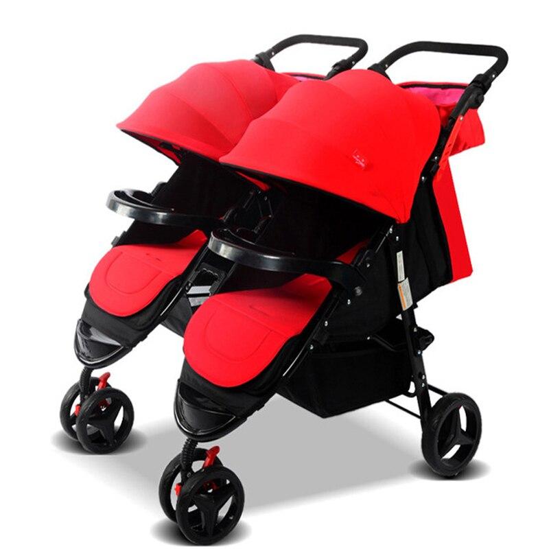 Peut être démonté double poussette portable jumeaux poussettes peut s'asseoir peut être plié bébé poussette pour les nouveau-nés
