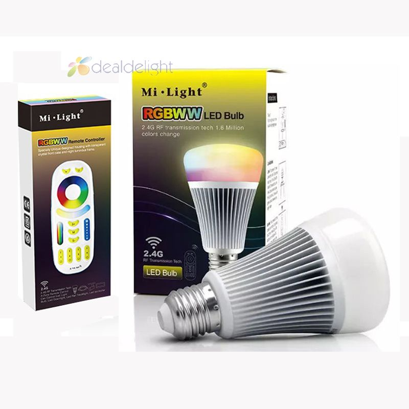 ФОТО NEW MiLight 2.4G Wireless E27 8W RGBWW + Color Temperature Dimmable 2 in 1 Smart LED Bulb AC85-265V +4-Zone 2.4G RF Controller