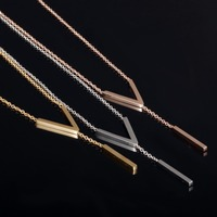Women Fashion 18K Rose Gold Gold Silver Plated V ID Pendant Body Chain Choker Collar Necklace