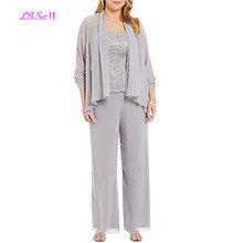 Plus Size Chiffon Bridegroom Mother Pantsuits Wedding Party Long of the Bride Dresses with Jacket