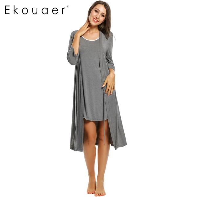 Ekouaer Womens Robe Gown Sets Solid Loose V Neck Long Robe Sleepwear Self Belt Lace Vest Pajamas Set Nightwear bathing robe