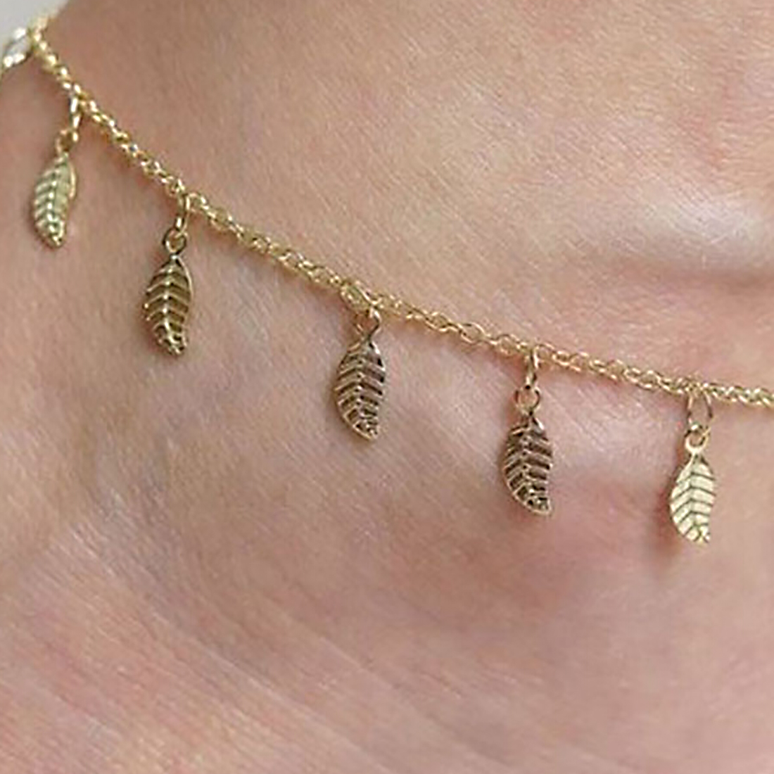 Fine Sexy Anklet Style Gold Leaves Ankle For Women Bracelet Barefoot Sandals Foot Jewelry Leg Chain On Foot