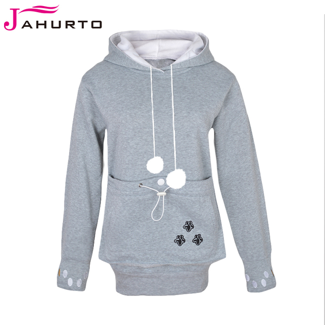 Jahurto cartoon hooded hoodies minnaar katten kangoeroe hond hoodie cool lange mouwen sweatshirt voorvak casual dier oor hoodie