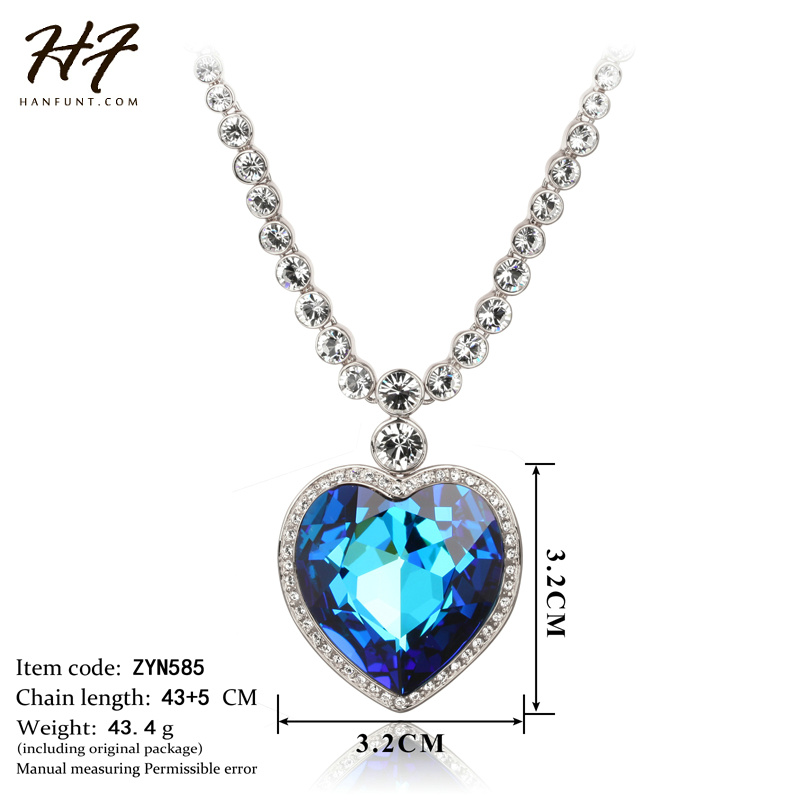Image 5 - Sliver Color The Heart of Ocean Austrian Blue CZ Crystal Pendant  Necklace For Women HotSale N585 N586heart of oceanheart of the  oceannecklaces for women