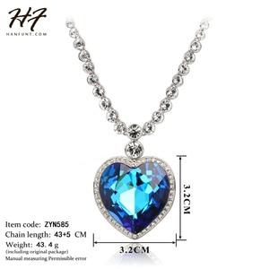 Image 5 - Sliver Color The Heart of Ocean Austrian Blue CZ Crystal Pendant Necklace For Women HotSale N585 N586