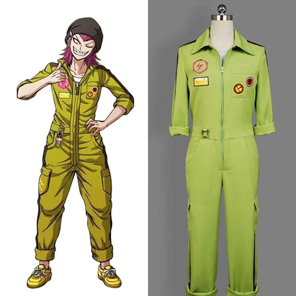 Super DanganRonpa 2 Dangan RonpaSayonara Zetsubou Gakuen Kazuichi Souda Uniform Green Jumpsuit Japanese Anime Cosplay Costume gakuen polizi vol 1