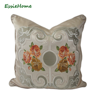 ESSIE HOME Luxury Nude Champagne Faux Silk Cushion Cover Pillow Case With Piping Embroidery Rose High End Pillow Cushion