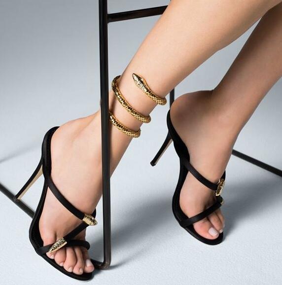 Bout Ouvert De Noir Forme Talons Bracelet Photo Hauts Noir or Sandales Nouveau Femmes Sexy Or Serpent En Couleur À Dame Réel A4ZP4vFq
