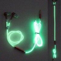 Fashion Glow In The Dark Metal Earphones Earbuds With Mic Glowing Zipper Headset Luminous Light Stereo