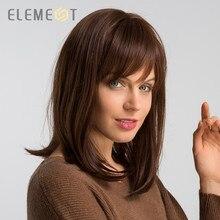 Perruque synthétique lisse 14 pouces avec frange mélangée, perruque 50% cheveux humains marron à la mode, perruque de fête pour Cosplay pour femmes, livraison gratuite