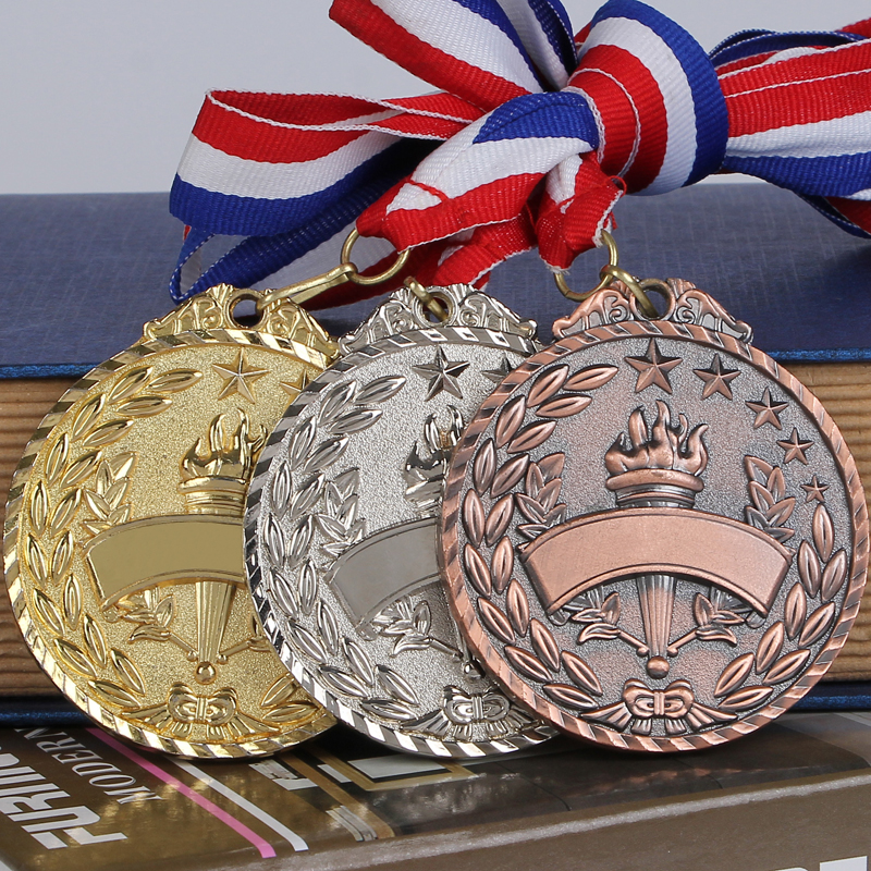 The Olympic Torch Gold Silver Bronze Medal Souvenir Zinc Alloy Official Sport Match Adward Sport Competition Medal Prize For Kid