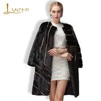 Lvchiクロスストライプの女性の高貴なリアルファーコート革黒毛皮レザーヒットカラーoネックフル毛皮ミンクニットミンクコー