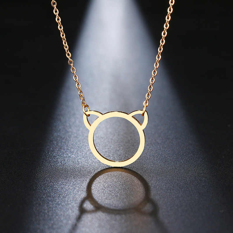 DOTIFI Stainless Steel Necklace For Women Lover's Gold And Silver Color Pendant Necklace Cat Ear Clavicle Chains Collar