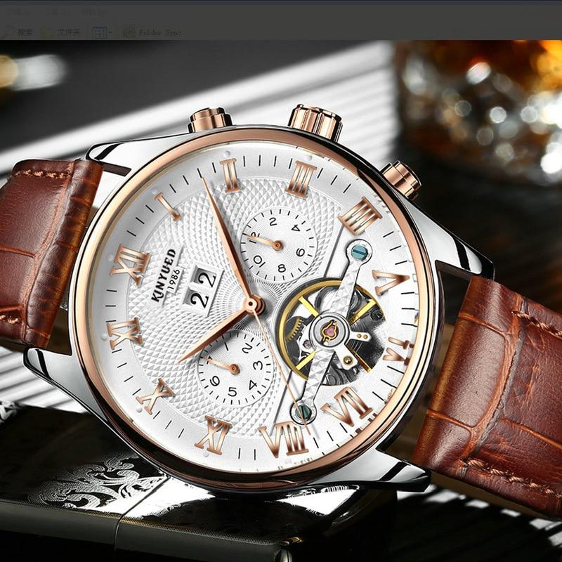 kinyued Automatic Mechanical Watches Men Waterproof Leather Strap Wrist Watch Luxury Tourbillon Skeleton Watch Relogio Masculino