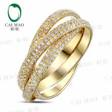 CaiMao 18KT/750 Yellow Gold 1.85 ct Full Cut Diamond Engagement Gemstone Wedding Band Ring Jewelry