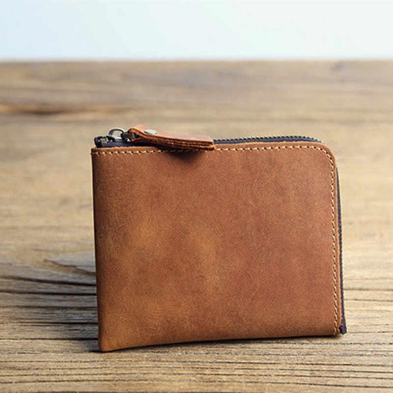 Leacool 100% couro genuíno dos homens bolsas moeda bolsa homem famoso pequeno curto portomonee mini masculino bolsas titular do cartão carteira