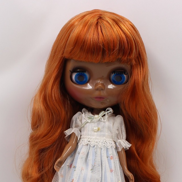 TBL Neo Blythe Doll Black Skin Brown Orange Hair Regular Body
