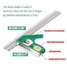 Mayitr 300mm Multifuncational Combination Square Angle Ruler 45 / 90 Degree Protractor With Bubble Level Measuring Set Tools