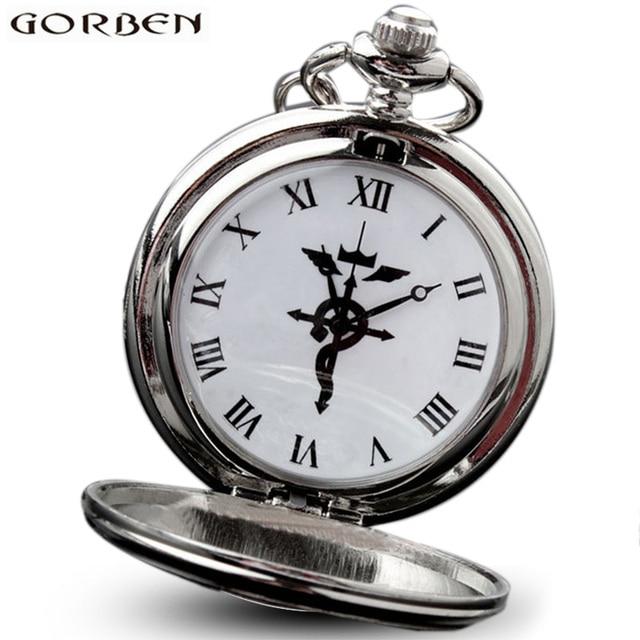 Anime Silver Fullmetal Alchemist Cosplay Edward Elric Vintage Pocket Watch Neckl