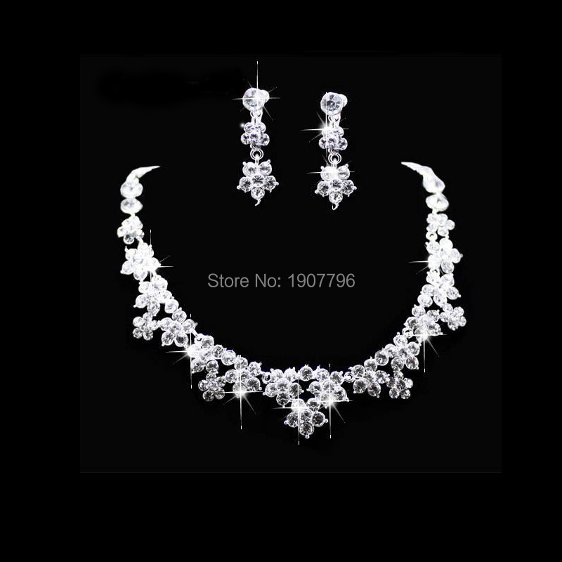 Rhinestone indian bridal Jewelry african silver necklace wedding