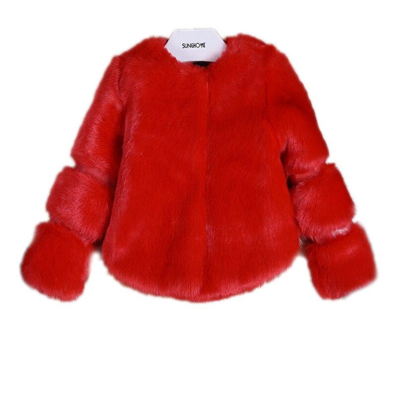 Girl Fur Jacket 2018 New Autumn Winter Girls Faux Fur Fashion Jacket Girls Winter Parka Solid Warm Kids Winter Coats Girls 2-7T
