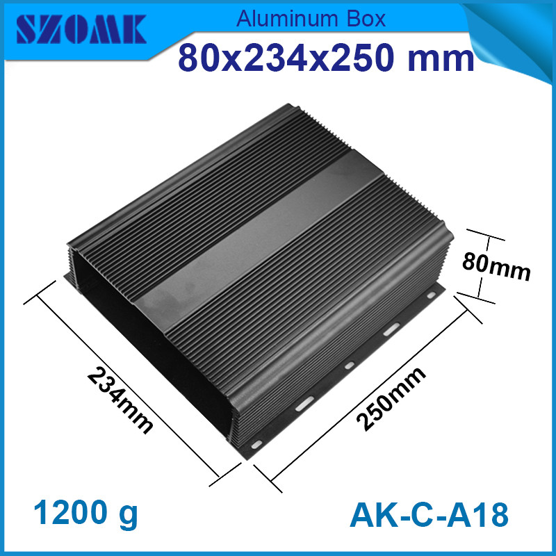 1 piece free shipping anodizing aluminium amplifiers black wall mounted distribution case 80x234x250mm