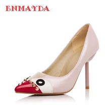 ENMAYDA Fashion Thin Heels font b Women b font Shoes Pointed Toes Rivets Slip On Style