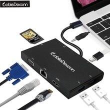 2017 горячий продукт USB-C USB 3.1 Тип c VGA HDMI 4 К 2xusb OTG и Gigabit ethnernet RJ45 и USB-C женский Зарядное устройство адаптер ноутбука