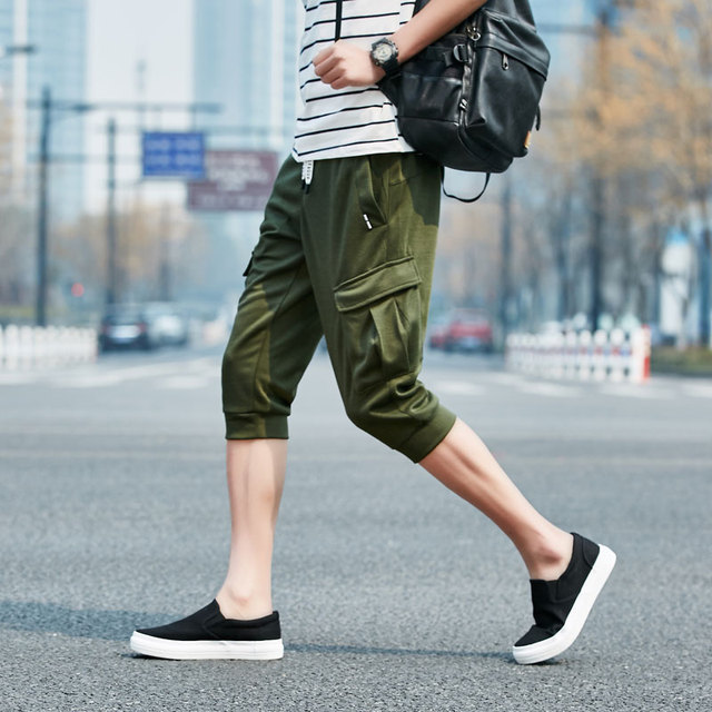 New Summer Cotton Men Casual Pants Pocket Long Soft Jogger Sweat Harem Pant Loose Solid Army-Green Gray Black Blue Male Trousers