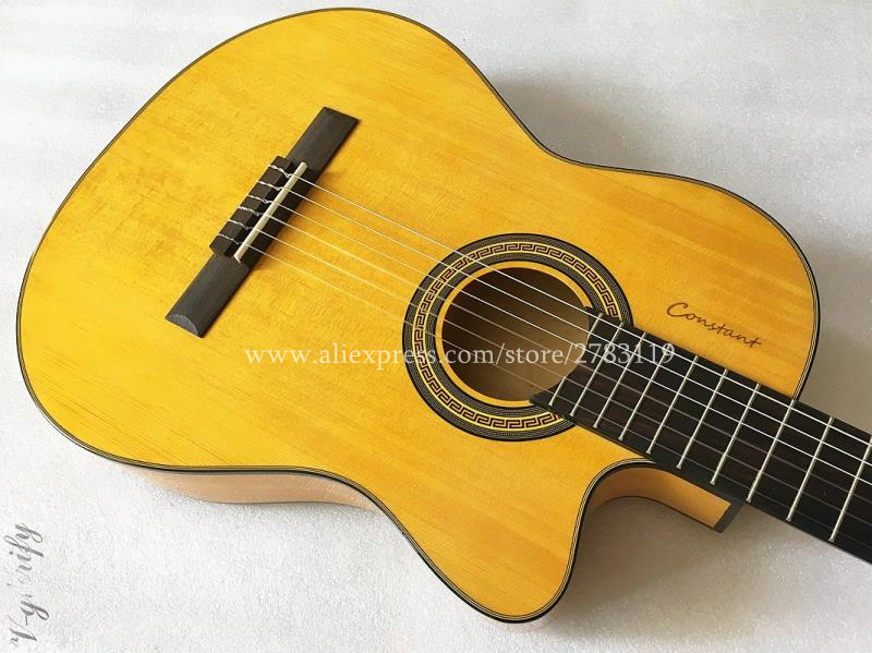 39 Thin Body Cutaway Acoustic Classical guitar With Spruce/Mourning cypress Body,Classical guitar monday mourning