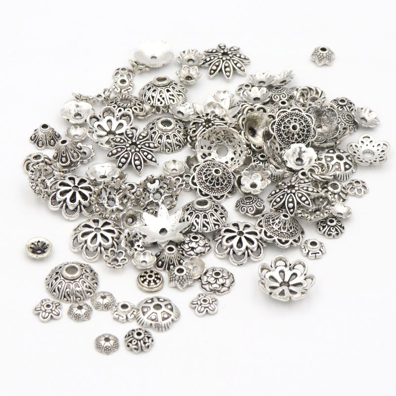 150pcs Mixed Tibetan Antique Silver Color Flower Bead End Caps For Jewelry Making Findings Needlework Diy Accessories Wholesale