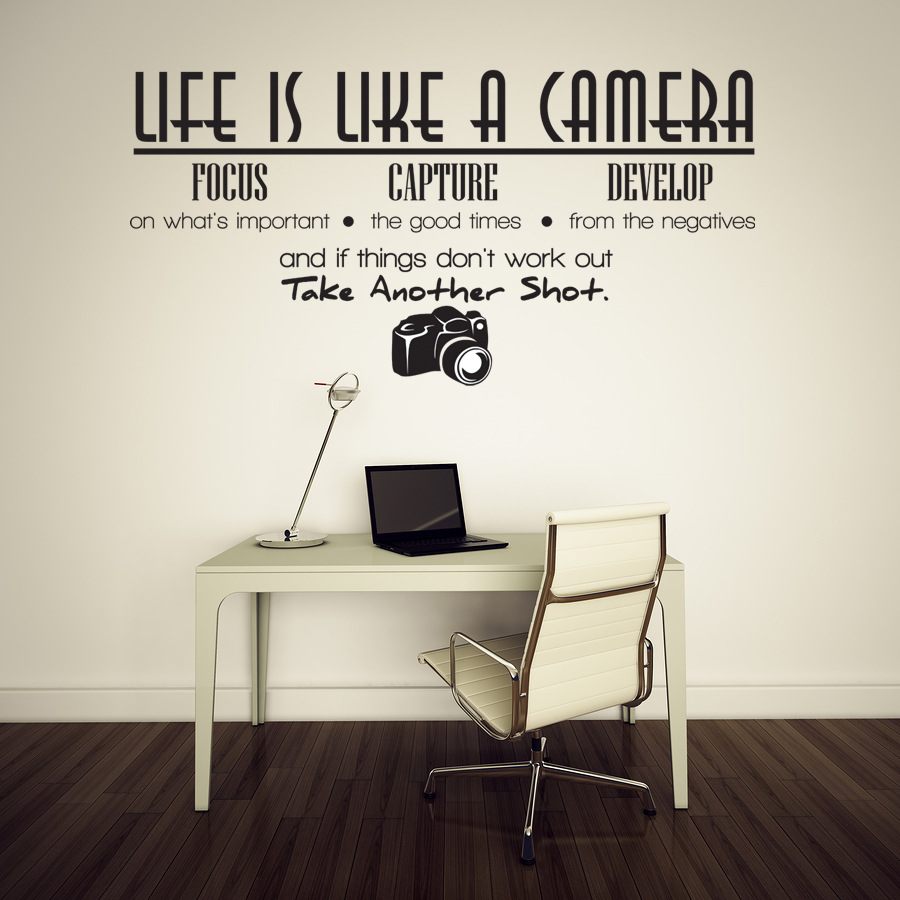 Elegant Life Is Like A Camera Living Room Decoration PVC Wall Decals Quotes Wall  Stickers Quotes And Sayings Wall Art Poster Wallpaper In Wall Stickers From  Home ...