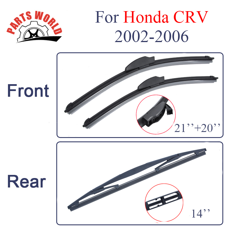 KIT Silicone Rubber Windscreen Front And Rear Wiper Blades For Honda CRV 2002-2006 Windshield Wiper Car Accessories
