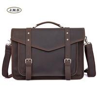 J.M.D New Arrivals Genuine Vintage Leather Brown Color Men Briefcase Handbag Shoulder Bag Fashion Messenger Crossbody Bag 7377R