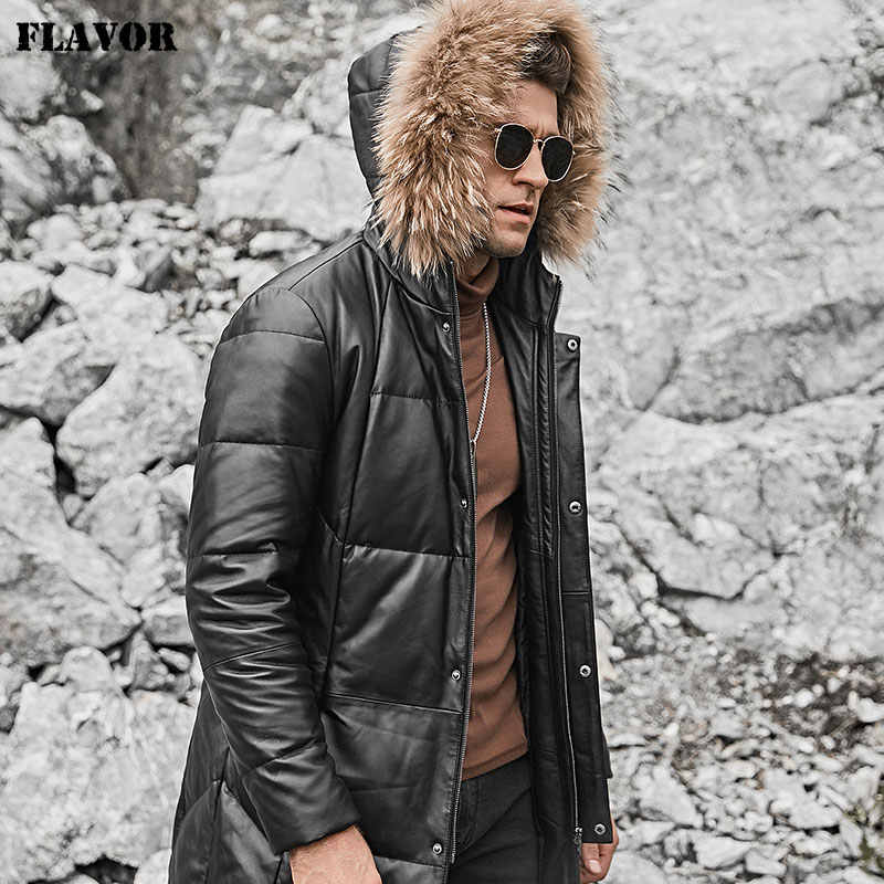FLAVOR Men's Real Leather Down Coat Men Genuine Lambskin Winter Warm Leather White Duck Down Jacket with Raccoon fur Hood