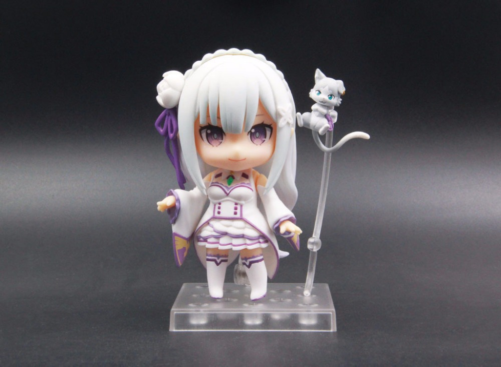 Action & Toy Figures Anime Re Life In A Different World From Zero Q Version Nendoroid #751 Half-elf Kawaii Emilia Pvc Action Figure Model Toy G306