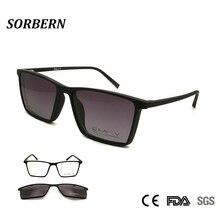 SORBERN Unisex Polarized Sunglasses Magnetic Clip on Glasses TR90 Ultralight Frames Women Men Drive Goggles Myopia Eyewear