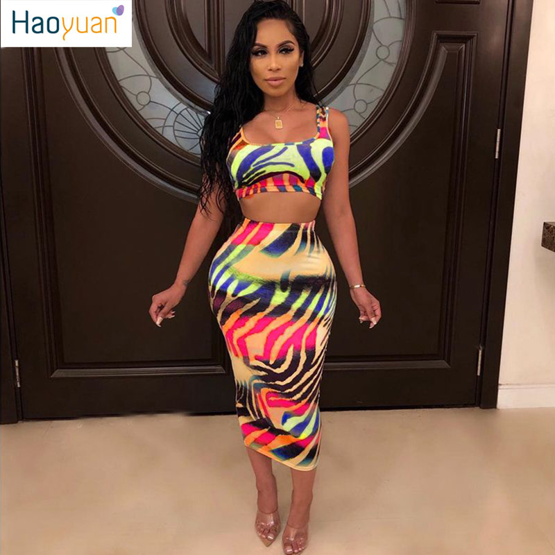 HAOYUAN Bohemia Print 2 Pcs Sets Summer Beach Womens Backless Crop Tops And Skirt Suit Sexy Tie Dyeing Bodycon Two Piece Outfits